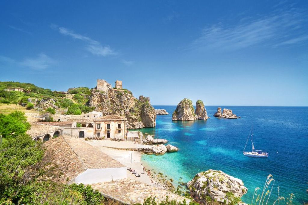 Tonnara di Scopello, Sizilien, Italien.